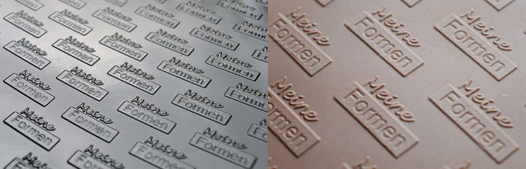 Structure sheets for pralines and chocolate with your logo or motif